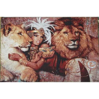 Гобіленова картина Цариця, лев та левиця Б098