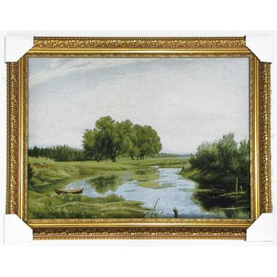 Пейзаж с озером и лодкой (77*56 см.)