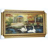 Гобеленова картина Пара закоханих лебедів (102*56 см.)