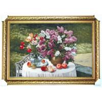 Гобіленова картина Букет бузку на столі