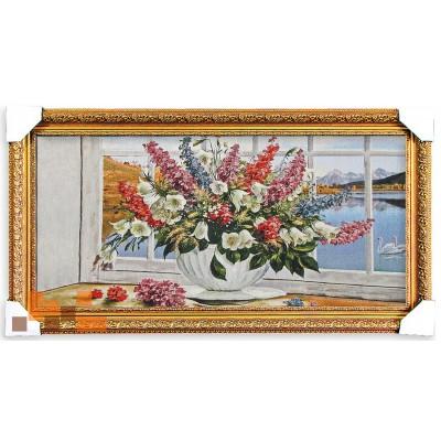 Букет квітів дзіночків на вікні (87*47 см.)