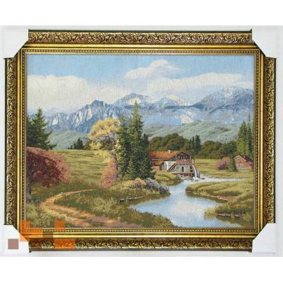 Природа пейзаж будинок біля гір 69*58 см.