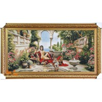 Гобіленова картина Клеопатра червоні квіти гепард
