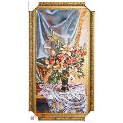 Букет лілій з розами 47х87 см