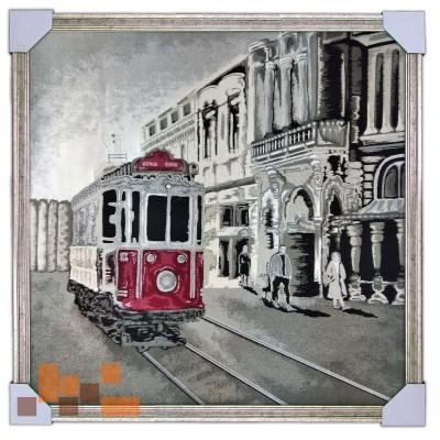 Трамвай город модерн 75х75 см