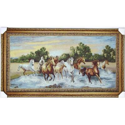 Гобіленова картина велика - Біжать коні сонце вода