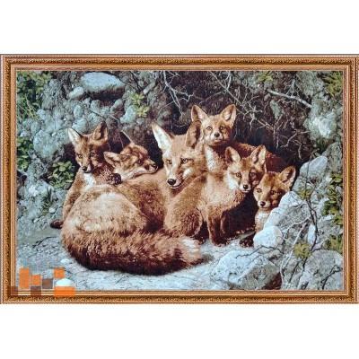Лисиця з дітками лисенятами 104х74см