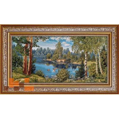 Пейзаж лісовий з качками на озері 109х62см