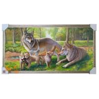 748 картина Сім'я вовків 105х55 см