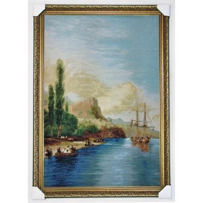 Гобіленова картина Корабель море берег вертикальна