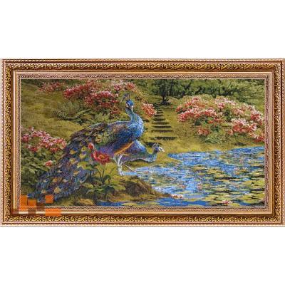 Пара павичів біля води, квіти(64х39)