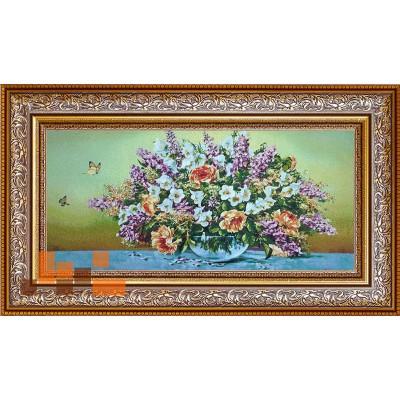 Квіти в вазі і метелики(91х50)