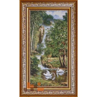 Пара лебедів та водоспад (95х54)