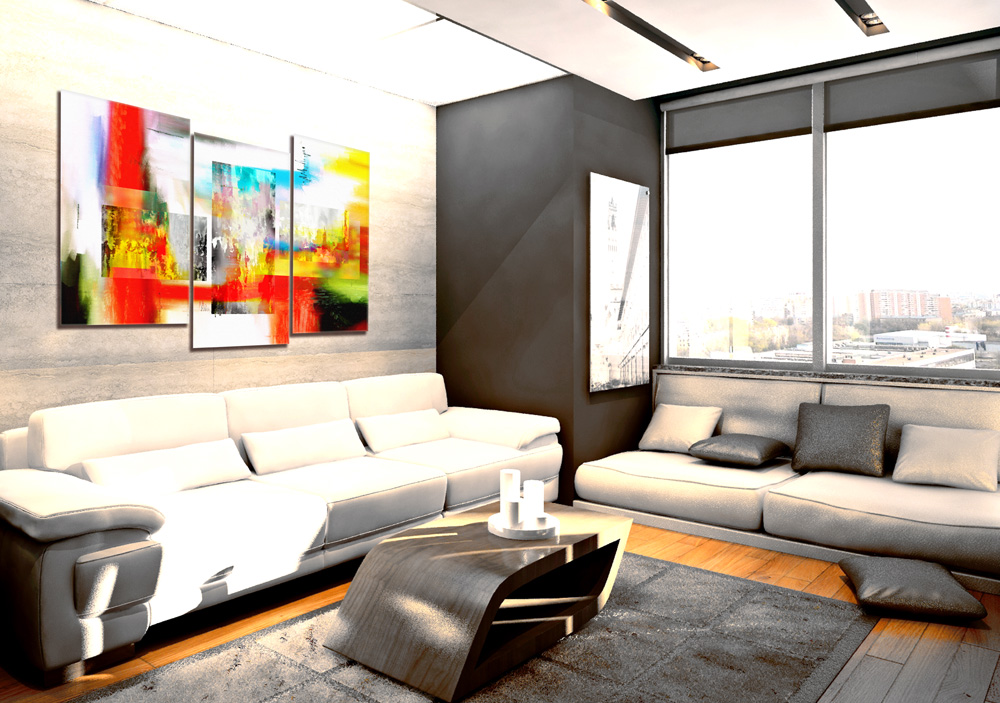 Абстракция картина в гостинной